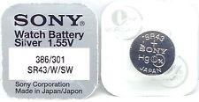 Sony 301/386 (Sr43W/Sw) 1.55v Silver Oxide Mercury Free Watch Battery - Japan