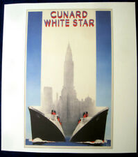 CUNARD WHITE STAR Poster, 1940s (Reproduction) -- QUEEN MARY, QUEEN ELIZABETH