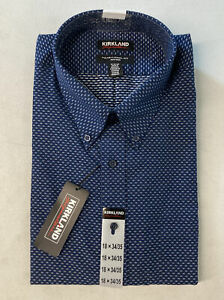 KIRKLAND SIGNATURE Men's Dress Shirt 18 34/35 Textured NAVY Traditional Fit Non