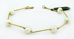 """GENUINE 8 mm WHITE PEARLS BRACELET 14K GOLD ** New With Tag ** 7"""" Long"""