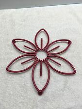 Red Metal Trivet Kitchen Hot Pad Decor Floral Flower painted