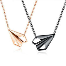 Creative Couple Necklace Paper Airplane Stainless Steel Pendants Rose Gold Black