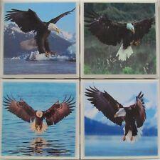 Handmade Natural Stone Ceramic Tile Drink Coasters - Set of 4 - Eagles 1 F