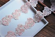 Exquisite Light Pink + Ivory Embroidery Tulle Lace Trim - price for 1 yard