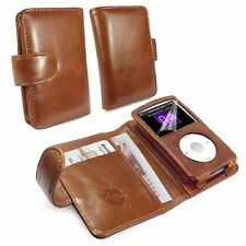 TUFF LUV Vintage Genuine Leather Wallet Case Cover for Apple Ipod Classic -Brown