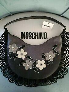Moschino VINTAGE Black&White wool flowers Hobo style bag