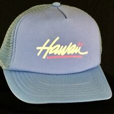 VTG Hawaii Snapback Hat Cap Blue Neon Pink 80s Hawaiian Headwear Mesh Trucker