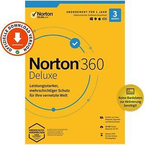 NORTON 360 Deluxe 2021 - 3 Gerät / 5Gerät / 1 Jahr / VPN / 50GB Wolke