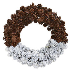 "Artificial 20"" Half Frosted Snow Pine Cone Wreath Winter Holiday Decor"