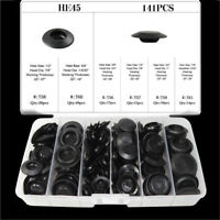 141*Flush Mount Black Plastic Hole Plug Assortment Auto Body Sheet Universal BA