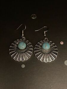 Vintage Style Silver & Blue Dangly Earrings. Silver Jewellery With Blue Stones