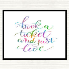 Book Ticket Live Rainbow Quote Mouse Mat Pad
