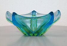 edle Murano Glas Schale Obstschale Organisch Fünfeck Blau Grün  Vintage 70er J.