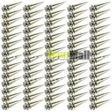 100Pcs 26mm Silver Spots Cone Screw Metal Studs Leathercraft Rivet Bullet Spikes
