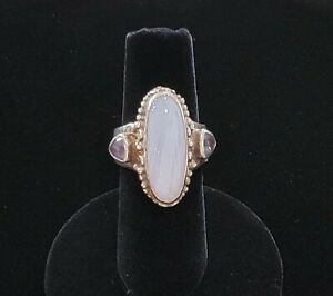 SAJEN Sterling Silver 925 Blue Lace Agate & Iolite Size 6 1/2 Adj Ring