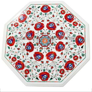 Marble Inlay Cafe Table Octagonal Center Table Top Pietra Dura Floral Art