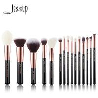 Jessup Makeup Brushes Kabuki 15Pcs Powder Blending Blush Eyeshadow Brush Set
