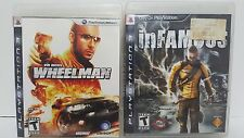 PS3 Game Lot Vin Disesl Wheelman & Infamous Tested Free Shipping Sony Midway