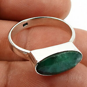 Halloween Sale Emerald Gemstone Jewelry 925 Sterling Silver Ring Size 8 O9