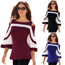 Fashion Womens Colourblock Bell Sleeve Cold Shoulder Blouse Casual Summer Tops