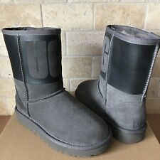 UGG Classic Short Rubber UGG Logo Grey Black Suede Sheepskin Boots Size 8 Womens