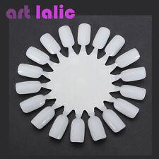 10x Natural Nail Art Tips Practice Round Wheel Polish Acrylic Manicure Display