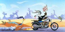 Road Runner & Wile E Coyote Harley Davidson Cartoon Sticker, Magnet or Print