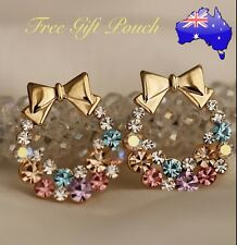 Christmas Bow Wreath Colourful Rainbow Crystal Gold Stud Earrings XMAS Gift New
