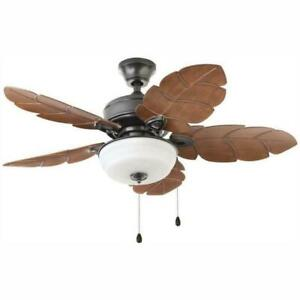 Palm Cove 44 in. LED Indoor/Outdoor Natural Iron Ceiling Fan with Light Kit -...