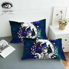 Wolf Galaxy By Pixie Cold Art Pillow Case Moon Child Decorative Pillowcase