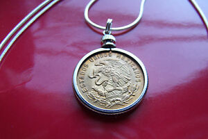 """Mexican Classic GOLDEN EAGLE Coin Pendant on a 28"""" .925 Silver Snake Chain"""