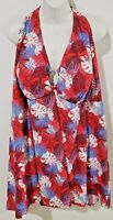 Swimsuit for All Women's Plus Size 32 One Piece Swimdress V Neck Red Floral NWT