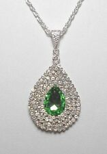 45mm green + clear crystals encrusted drop pendant - 18.5'' chain