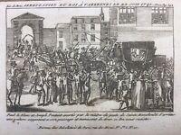 Rare Gravure 1791 Fuite de Varennes Arrestation de Louis 16  Marie Antoinette