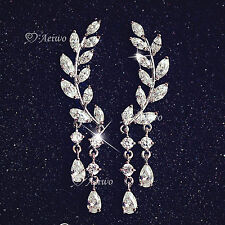 18K GOLD FILLED SILVER POST EARRINGS CLEAR CRYSTAL LEAVES DROP STUD EAR CLIMBERS