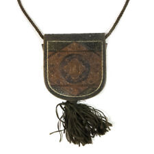 "Victorian Gorgeous Tooled Leather Small Change Handbag Tassel Purse 7.50"""