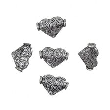 Antique Silver Metal Heart Shape Beads Jewellery Charms (13mm) Pack of 5 (C82/7)