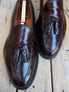 ALDEN Mens Dress Shoes Burgundy Leather Casual Slip On Tassel Loafers Size 10D
