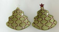 New Pottery Barn Set of 2 Seasons Greetings Christmas Tree Serving Plates NWOT