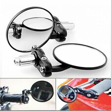 "1 Pair Motorcycle Round 7/8"" Handle Bar End Rotatable Rear View Side Mirrors HOT"