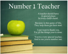Personalised Number 1 Teacher Poem Christmas Thank you Leaving Gift Present