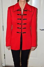 STUNNING ST JOHN KNIT JACKET RED WITH BLACK AND GOLD BUTTONS SIZE 2 WOOL BLEND