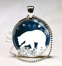 Polar Bear Necklace Christmas Jewelry Blue and White Snowflake Art Pendant