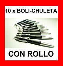 10 x BOLIGRAFO CHULETA CON ROLLO - BOLI PARA LOS EXÁMENES. ESTUDIANTE TRAMPA PEN