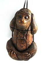 Vintage Natural Wood No Evil Monkey Inro Netsuke Box Hanging Charm Case Pouch
