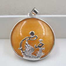 Jade Women Lucky Phoenix Oval Pendant New Arrival Gp Alloy With Natural Yellow