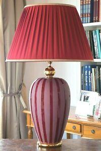 Lampada da tavolo in maiolica italiana ceramica decorata con foglia d'oro 24 K
