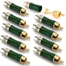 10x Cinch Stecker vergoldet Metall Ø 7 mm Selbst Löten RCA Audio Kabel Grün