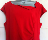 LK Bennett Davina ruched red stretch wool bodycon pencil Winter dress lined 10