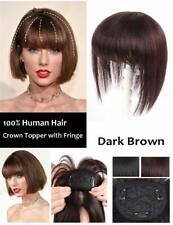 Handmade One Piece Straight Clip in Human Hair Topper With Bang Seamless Crown